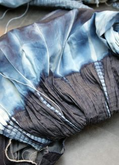 "katykatazome: "" Beautiful indigo shades - Calik's inspirational shibori tie-dye workshop at last week's Denim by Première Vision in Paris """