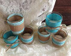 burlap and lace tiffany blue votive tea candles, wedding, bridal shower, tea party, birthday decoration candles
