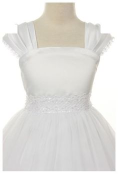 Flower-Girl-Cap-Sleeved-Beaded-White-Dress-First-Holy-Communion-Easter-222-Angel