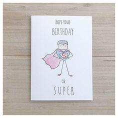 Super Man // watercolor super man funny birthday by kenziecardco