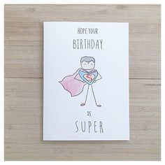 Super Man // watercolor super man funny birthday by kenziecardco