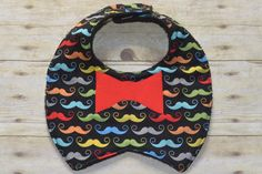 Mustache Tuxedo Red Bow Tie Applique Baby Bib  Ready to Ship. $5.00, via Etsy.