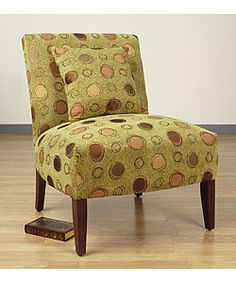 @Overstock - This accent chair has a solid hardwood frame and durable fabric upholstery. It features stylish brown circles design against a grasshopper green backdrop. It includes soft foam-filled seating and a ma...http://www.overstock.com/Home-Garden/Accent-Chair-Grasshopper/1786227/product.html?CID=214117 $130.99