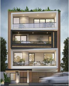 Modern House Facades, Modern Exterior House Designs, Dream House Exterior, Modern Architecture House, Exterior Design, Architecture Interiors, House Outer Design, House Outside Design, Duplex House Design