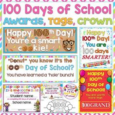 100th Day of School Awards, Tags, Crown
