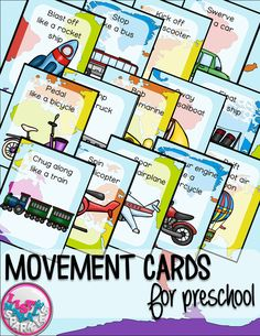 These transportation themed movement cards will keep your students active while they're excited for the weather to warm up! Move like a car, bicycle, train, hot air balloon, airplane, rocket ship, and more! Keep those excited little ones busy indoors when it's too rainy to go outside! All while teaching them about different actions, transportation methods and improving their gross motor skills! Put on some music and let your kids dance!