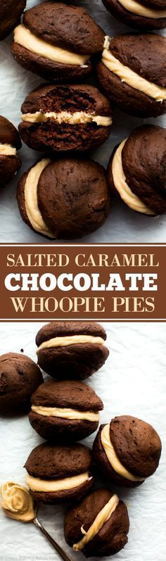 Soft, moist, and super EASY chocolate whoopie pies filled with salted caramel frosting! Dessert cookie recipe on sallysbakingaddic. Brownie Desserts, Mini Desserts, Easy Desserts, Delicious Desserts, Plated Desserts, Baking Desserts, Sweet Desserts, Salted Caramel Frosting, Salted Caramel Chocolate