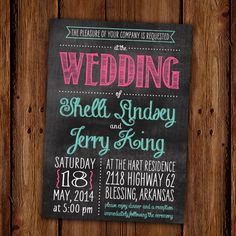Chalkboard Invitation  Wedding Invitation   by ScriptivaPaper, $15.00
