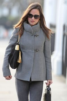 Pippa Middleton looked cute and polished in this unique houndstooth jacket while on her way to work