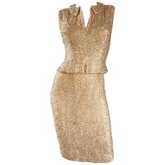 1950s Harvey Furst Demi Couture Gold   Silver Heavily Beaded Silk Chiffon Dress   From a collection of rare vintage cocktail-dresses at https://www.1stdibs.com/fashion/clothing/evening-dresses/cocktail-dresses/