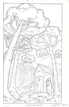 Back House by Windmyll on DeviantArt Forest Coloring Pages, Colouring Pages, Adult Coloring Pages, Coloring Books, Scenery Drawing Pencil, Landscape Drawings, Cute Cartoon Wallpapers, Environmental Art, Fantasy Artwork