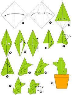 Diagramme d'origami de cactus
