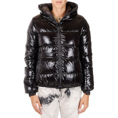 DUVETICA Reversible Camouflage THIA ERRE down Jacket ($215) ❤ liked on Polyvore featuring outerwear, jackets, black, camo jacket, lined hooded jacket, padded jacket, zip jacket and down filled jacket