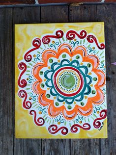 Abstract Multiple Flower Painted Canvas
