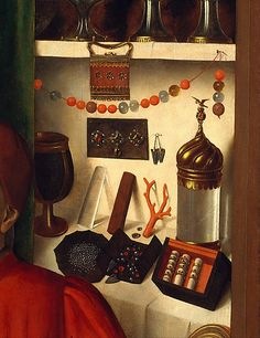 Detail of painting A Goldsmith in His Shop, Possibly Saint Eligius, Petrus Christus Medieval Market, Medieval World, Jan Van Eyck, Renaissance Paintings, Renaissance Art, Robert Campin, Recycled House, Christian Images, Medieval Jewelry