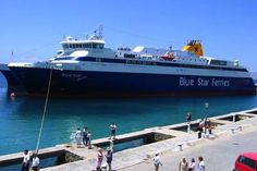 Blue Star ferry that runs from Athens to Santorini and back.