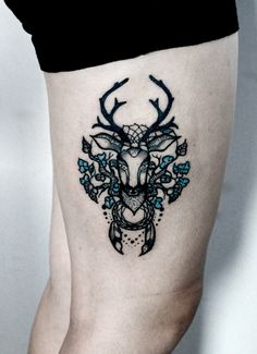 My gf's deer tattoo by kurka-designs.deviantart.com on @deviantART
