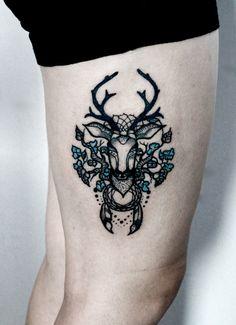 My gf's deer tattoo by kurka-designs.deviantart.com on @deviantART
