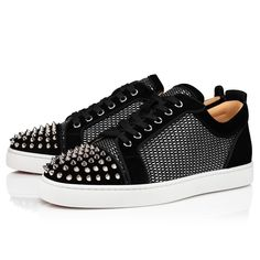 Louis Junior Spikes Orlato Metal Spikes, Metal Beads, Louboutin Online, Red Sole, The Vamps, Classic Leather, Black Flats, Online Boutiques, Black Silver
