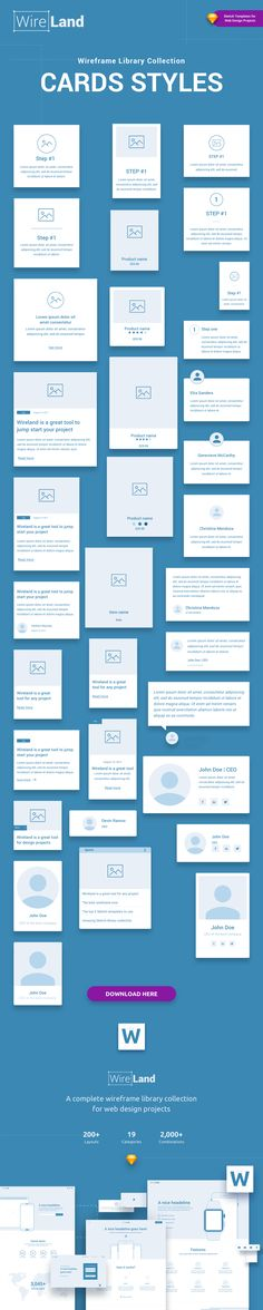 Card styles Wireland – is a Complete Wireframe Library Collection optimized to structure web design projects really fast and easy while getting great results. This library consist on 200+ ready-to-use layout sections divided into 19 popular content categories. Excellent for Landing Pages, and any kind of Web design Projects. Include layouts on: Testimonials, Ecommerce, Blog, Slider, Portfolio, Header, Price Table, Features, Benefits, How it works, Footer, FAQ, News, Metrics and Contact