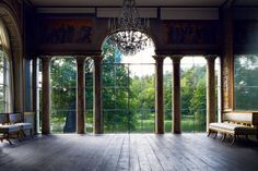 ballroom overlooking a lake, especially like the double columns, lose the shades though from the THEFULLERVIEW