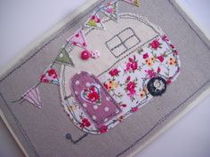 Handmade Machine Embroidered Card Retro Caravan Design on Linen, Birthday Card ,Love this x Embroidery Designs, Vintage Embroidery, Applique Designs, Embroidery Applique, Freehand Machine Embroidery, Free Motion Embroidery, Free Machine Embroidery, Fabric Cards, Fabric Postcards