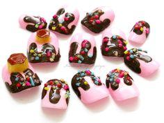 Fake nails lolita fairy kei decora fake sweets dripping by Aya1gou, $19.50