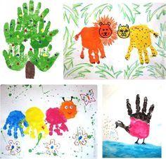 рисование ладошками с малышами - Поиск в Google Baby Crafts, Infant Crafts, Infant Activities, Rooster, Diagram, Kids Rugs, Map, Blog, Animals