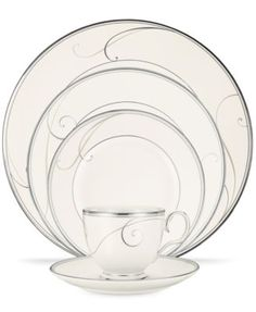 Noritake Dinnerware, Platinum Wave Collection $11.99 Fluid platinum scrolls glide freely throughout beautiful Platinum Wave dinnerware from Noritake. Easy to match with any decor in soft ivory, this exquisite fine china offers a timeless look for elegant dining or luxurious everyday meals.