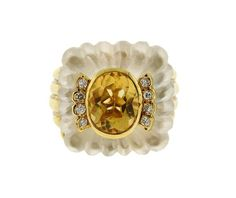 14K Gold Diamond Citrine Rock Crystal Ring Featured in our upcoming auction on March 16!