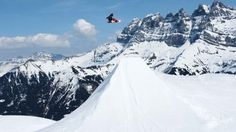 Huge air in front of Les Dents du Midi