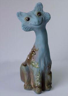 Fenton Art Glass Ocean Blue DEER ALLEY CAT GSE Ltd Ed #10/15 Signed JK SPINDLER | eBay Alley Cat, Glass Figurines, Fenton Glass, Glass Art, Lion Sculpture, Ebay, Statue, Cats, Blue