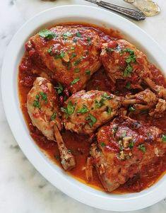 Poulet à l'ail et tomates à la cocotte ou poêle - Cuisine Culinaire