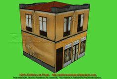 Edificios de Papel: Maqueta de Papel 1520: Edificio con comercio - Bui... Nos complace presentaros una nueva maqueta de papel para vuestra colección. Se trata de un pequeño edificio con envejecidas fachadas en color ocre.