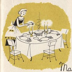 These illustrations are from 1950′s cookbooks and illustrated by Kay Lovelace Smith.