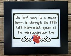 Best Way To A Man's Heart Cross Stitch Quote, Anatomical Heart Cross Stitch, Subversive Pattern, Medical Cross Stitch PDF, Adult Crossstitch