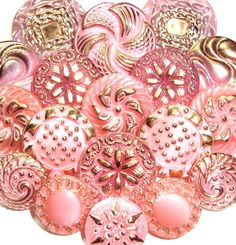 Pink Czech Glass Buttons with Gold by eebuttons