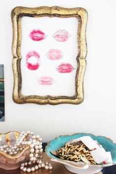 cute idea: framed kisses from your best friends or bridesmaids