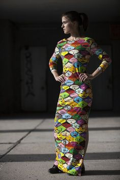 Faces Jersey Long Dress by Jain&Kriz. 100% Organic cotton jersey. For those who dare to wear colour!