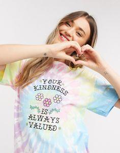 Daisy Street - oversized t-shirt i pastelfarvet batik- og kindness-print | ASOS Asos, Pastel Tie Dye, Printer, Daisy, T Shirts For Women, Fashion, Moda, Fashion Styles, Printers