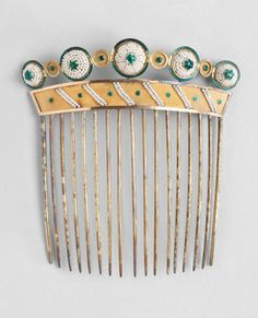 antique French hair comb,gold seed pearl, c.1880