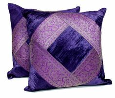 Purple throw pillows are super cute, beautiful and stylish. Use on beds and couches to create a calm and relaxing vibe especially in your living room or bedroom. Indeed, Purple accent pillows along with other purple home décor accents make for beautiful purple home decorated room or home. 2 Traditional Banarsi Silk Brocade Velvet Indian Ethnic Decorative Purple Throw Pillow Cushion Covers