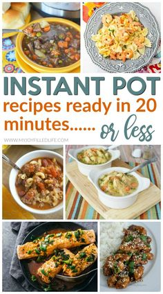 If you need to get dinner on the table in a hurry, try one of these Instant Pot recipes that are ready in 20 minutes or less - prep and cook time included! #instantpot #recipes #instantpotrecipes