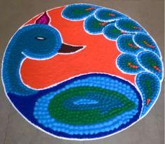 15 Peacock Rangoli Designs for Diwali