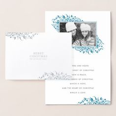 #Winter Frost Merry Christmas Photo Foil Card - #Xmas #ChristmasEve Christmas Eve #Christmas #merry #xmas #family #kids #gifts #holidays #Santa