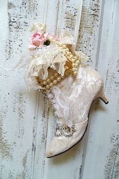 Victorian decorative boot recycled white lace GORGEOUS!!!