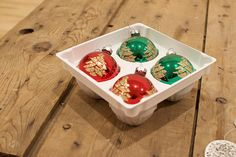 Christmas Baubles Vintage Glass Baubles Red Green Gold Baubles Pyramid Christmas Decorations Round Christmas Tree Ornaments in Box by VintageFlicker