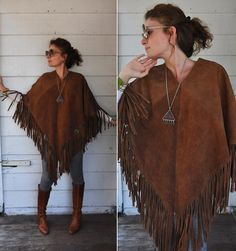 Leather poncho Etsy listing at https://www.etsy.com/listing/197398012/fringed-leather-poncho-cape-suede