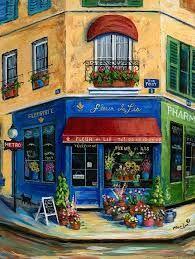 © Marilyn Dunlap painting art French Flower Shop.