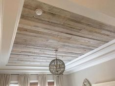 Home Remodeling Wood One of the most beautiful ceilings we have done for sure! This one features our custom whitewashed barn wood. We love the whitewashed wood with its variety of light and dark tones. Wood Plank Ceiling, Shiplap Ceiling, Wooden Ceilings, Wooden Ceiling Design, Plywood Ceiling, Pallet Ceiling, Wood Wainscoting, Accent Ceiling, Trey Ceiling